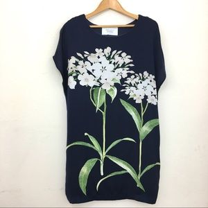Zara Collection t-shirt dress navy with flowers M